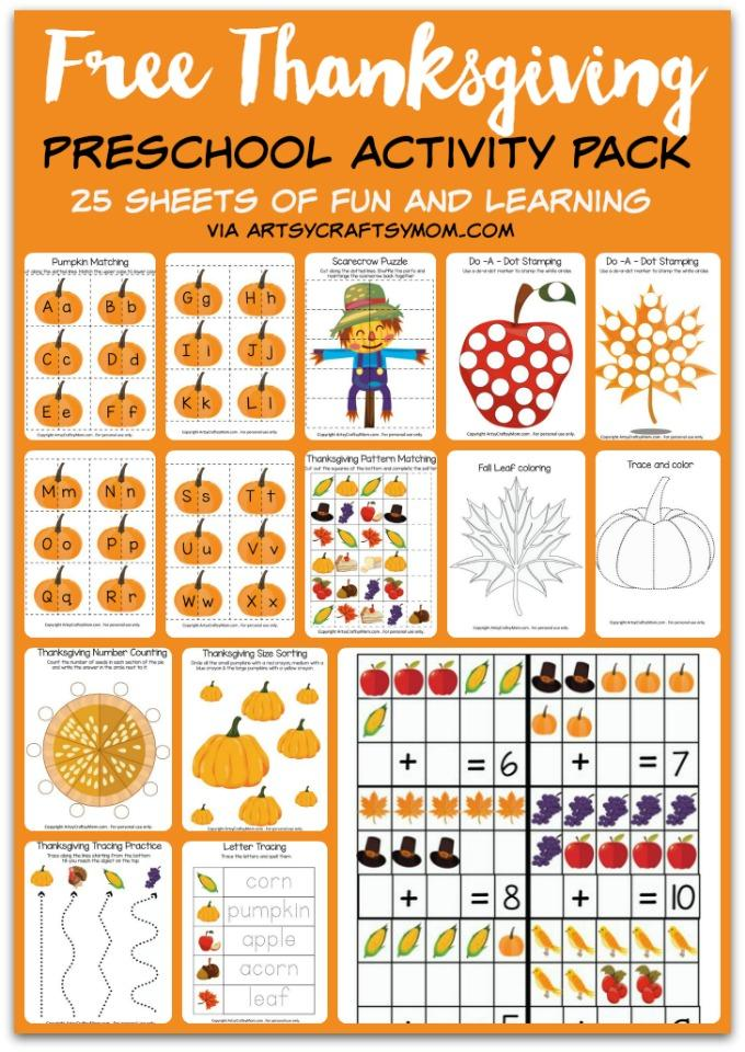 Free Thanksgiving Preschool Activity Pack
