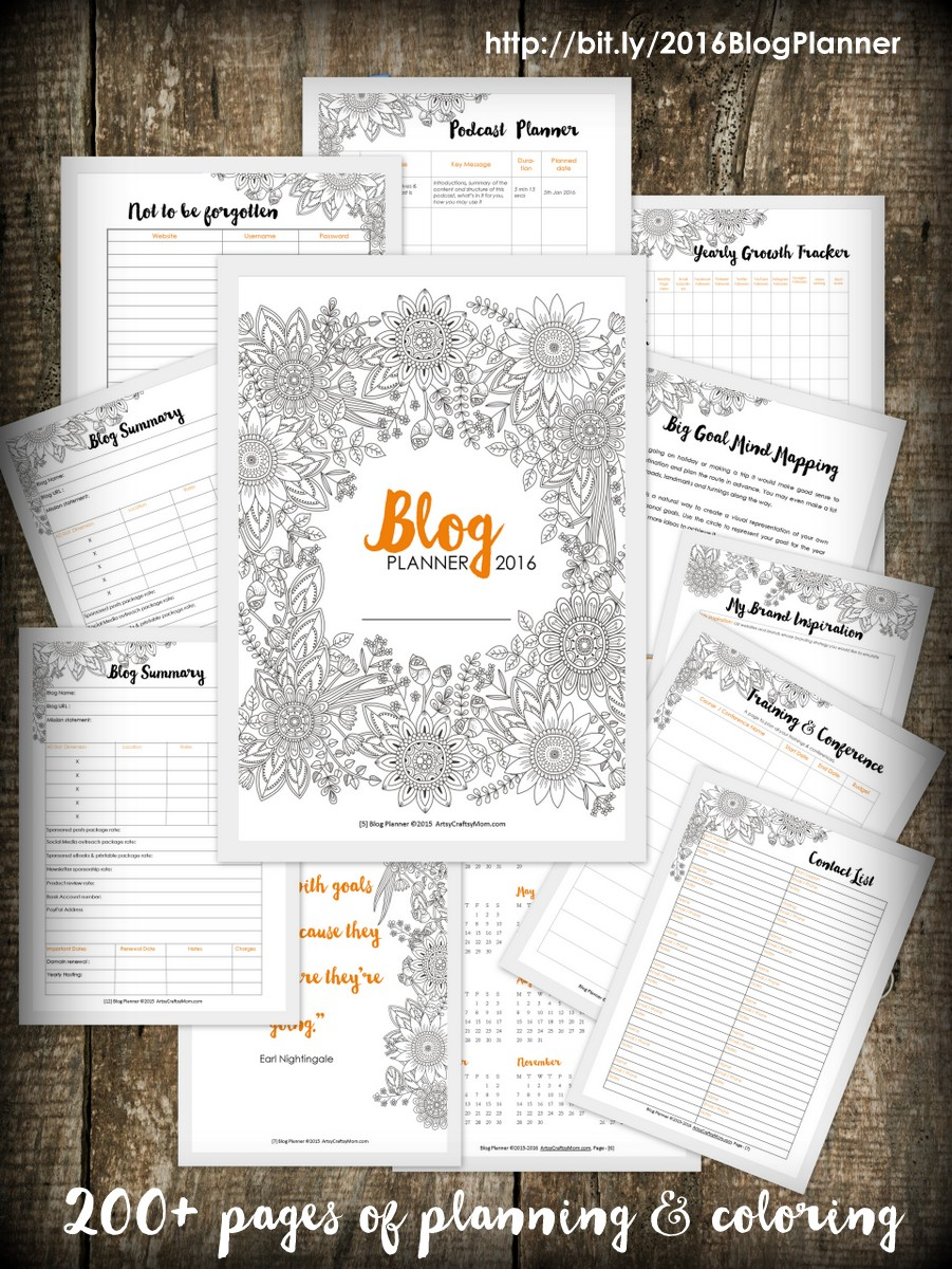 Artsy Blog Planner 2016 - 200+ pages of checklists, daily, weekly, monthly planners, plus14 coloring pages. Plan & Color your way to blogtastic success