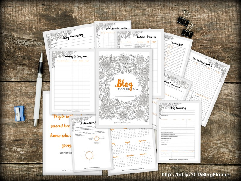 Artsy Blog Planner 2016 - Over 200 pages of checklists, daily, weekly, monthly planners, calendars + 14 full page coloring elements to help you build a year of killer content while providing hours and hours of stress relief, mindful calm, and fun, creative expression.