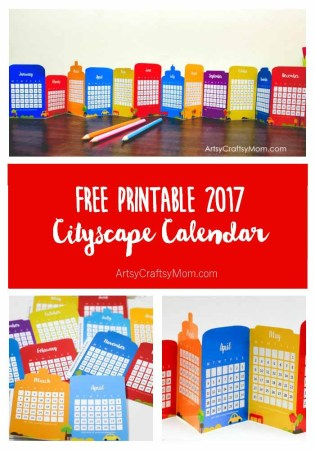 Free Cityscape Accordion Fold 2017 Printable Calendar