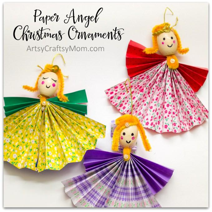 Give your Christmas tree a heartfelt touch of homemade with these fun and easy paper Angel Christmas ornaments.Perfect for DIY Gifts from the Kids