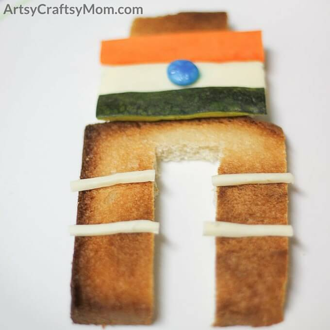 Make this fun Tricolor India Gate food art with your kids to celebrate republic day. Easy no cook, no bake instant snack for kids to make and eat.