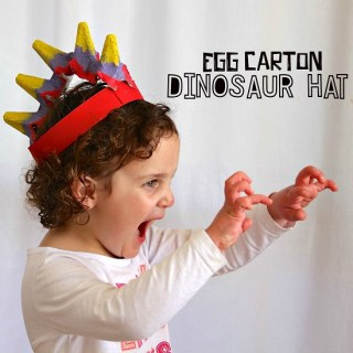 Egg Carton Dinosaurs Hat. Who ever said that hats were out of style? Join your kids in bringing hats back with these creative hat crafts for National Hat Day.