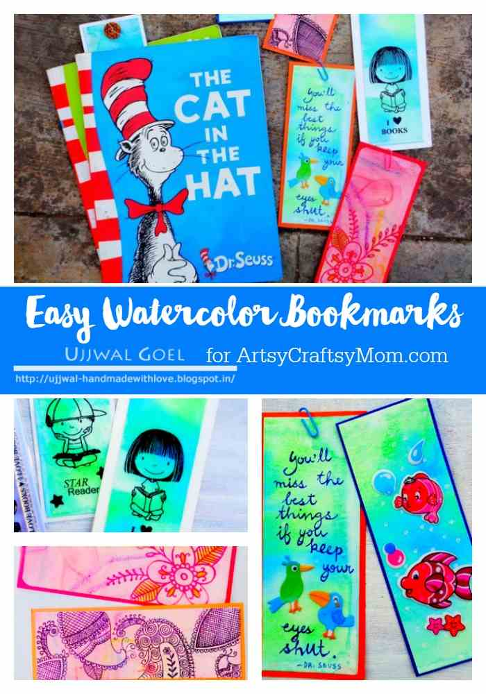 Easy Watercolor Bookmarks - colorful bookmarks using simple watercolor techniques and materials! Easy to make, lots of fun and make perfect gifts.