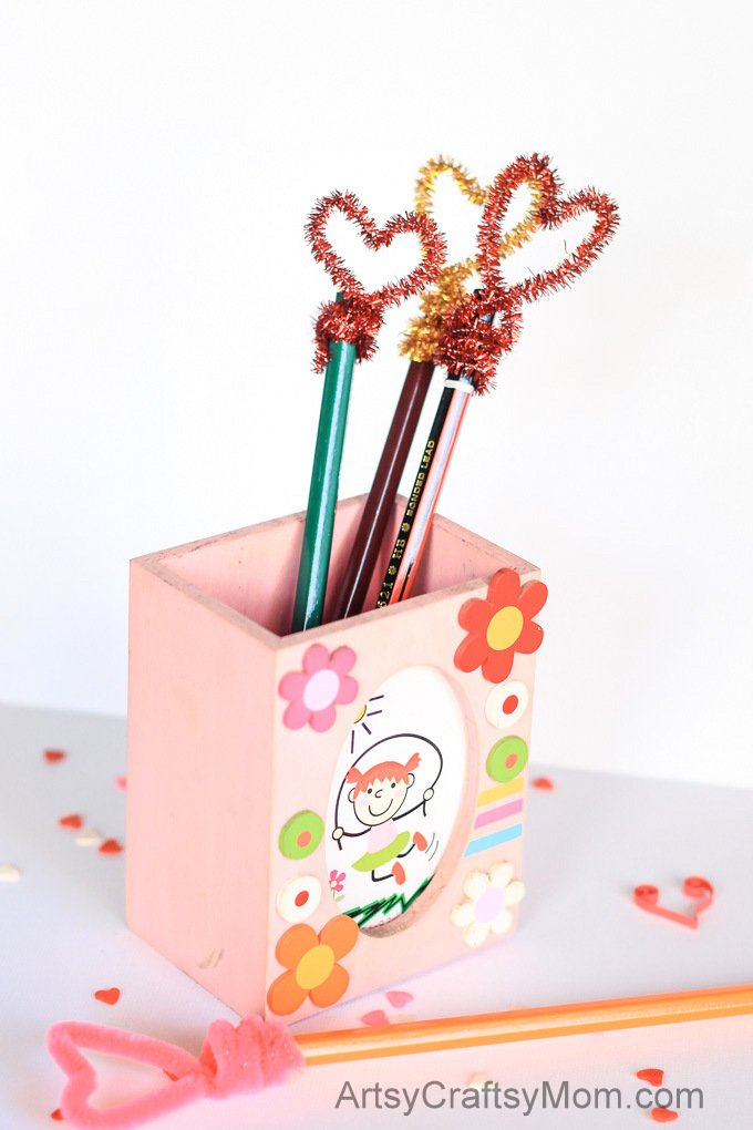 Cute, Fun & Whimsical, these Easy Heart-Shaped Pencil Toppers are a perfect kid craft for Valentine's day. Have fun making them and then gift them to friends.