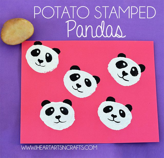 potato stamped panda