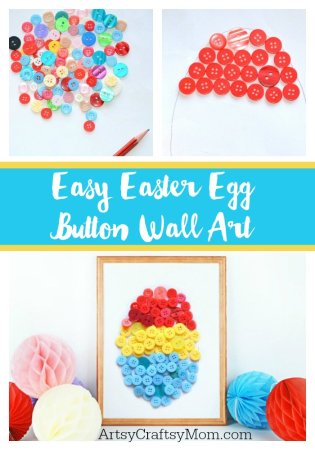 Easy Easter Egg Button Wall Art for Kids