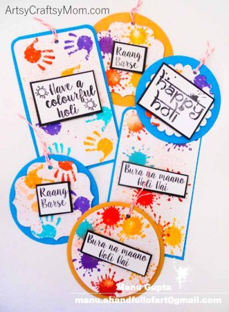 DIY Colorful Holi Gift Tags + Holi Stamps Giveaway