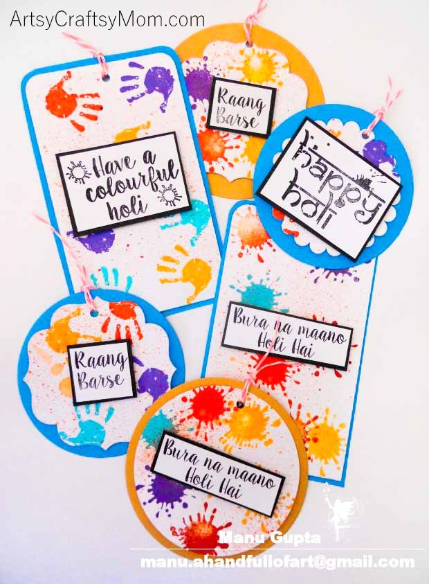 This Holi, add a touch of handmade love to your gifts and sweets by making Colorful Holi Gift Tags for the gifts - Paint splatter, Colorful and joyous to celebrate the Indian festival of colors in style