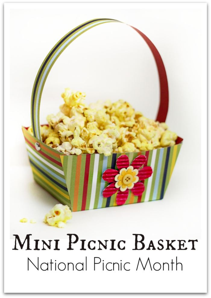 Create a fun mini Paper Picnic Basket that comes with a free printable template! Fill it with popcorn or flowers from the garden. Works as cute favor bags too