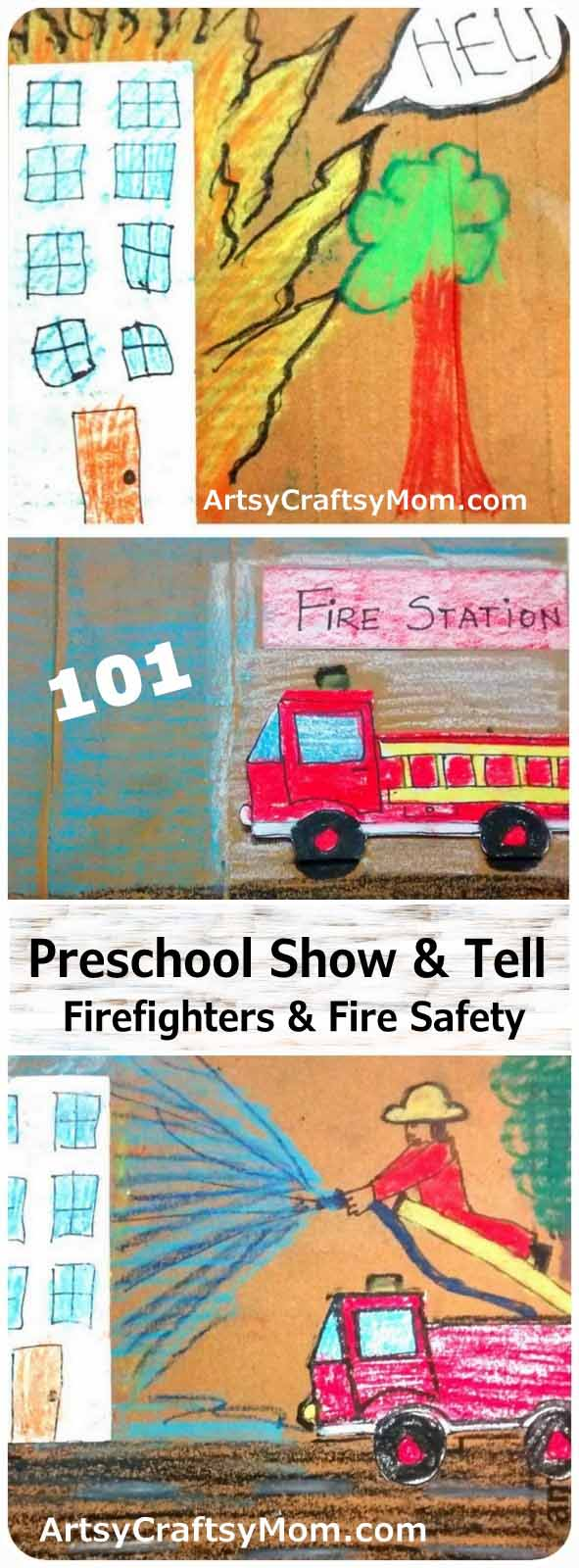 Make a simple chart for a Preschool Show & Tell about Firefighters & Fire Safety. Perfect for Fire Services Day, Fire Safety Week & Community helper study.