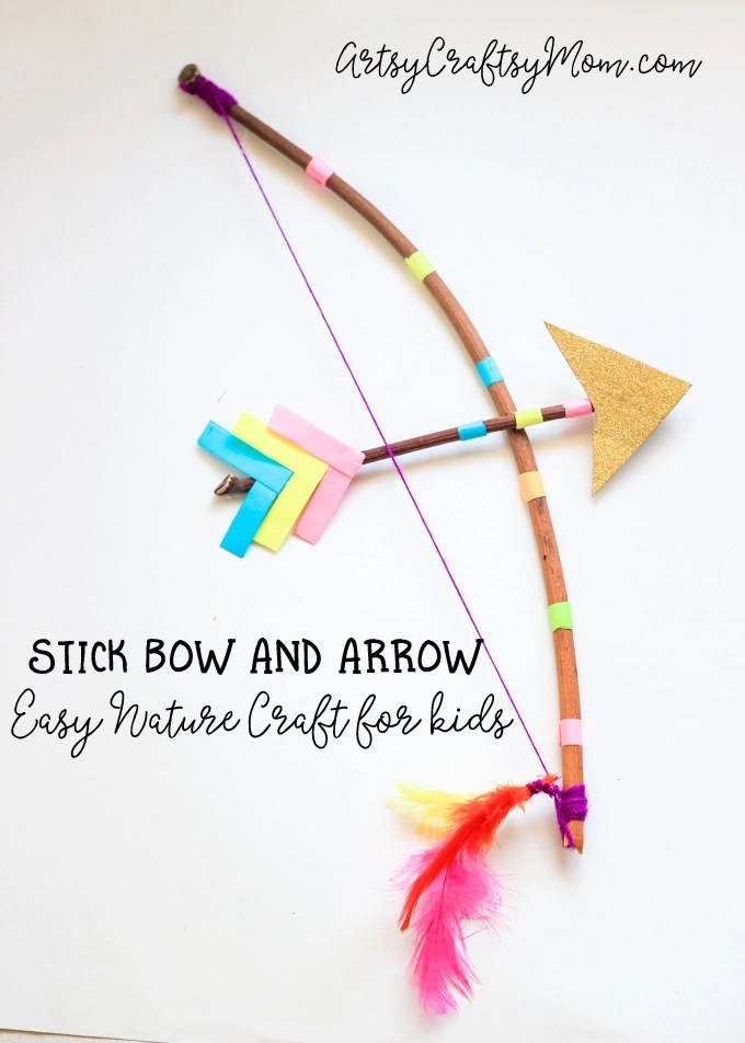 Make a Stick Bow and Arrow with a twig & some yarn. Now all that's left to do is test out your DIY bow and arrow with a little target practice!  Perfect as a cupid bow and arrow costume prop or a fun Nature craft.