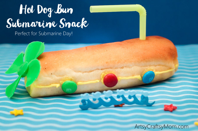 Hot Dog Bun Submarine Snack would be fun to serve at a Yellow Submarine party, your child's next playdate, or maybe just a special treat for National Submarine Day! Kid made desserts. Fun food art for kids.