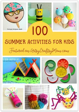 Check out our ultimate list of 100 Summer Crafts & Activities for Kids - Perfect Summer Camp at home Ideas including crafts, printables and more! #Summercraft #artsycraftsymom #summercamp #summerkidscrafts