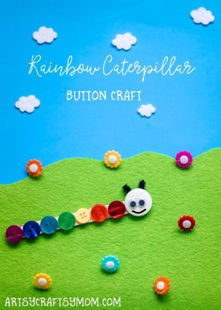 Rainbow Caterpillar Button Craft