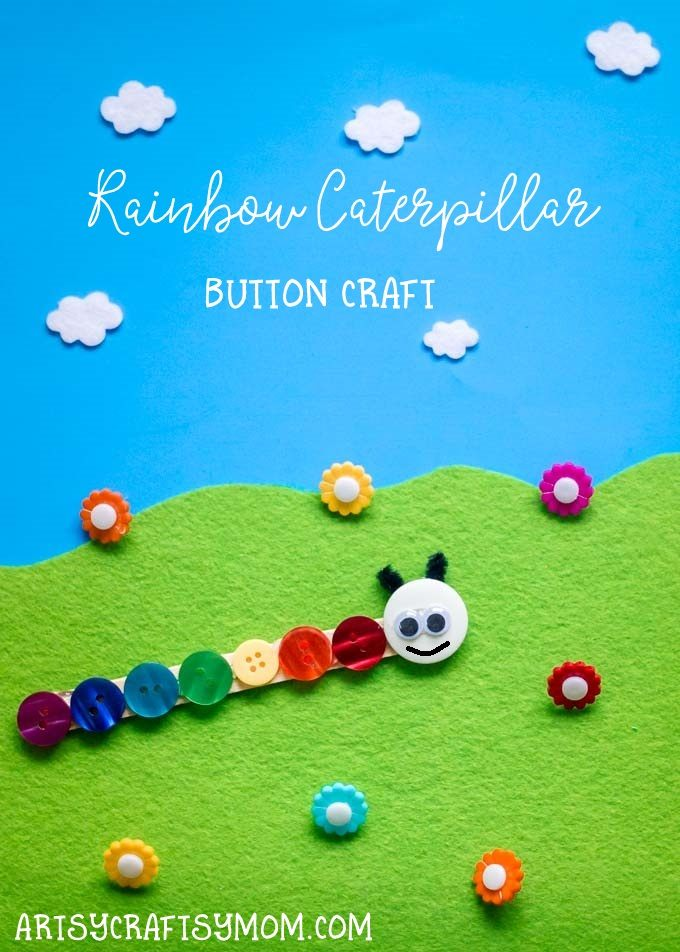 Perfect for kids of all ages to do, this Rainbow Caterpillar Button Craft is a great spring craft and perfect for a reading of The Very Hungry Caterpillar.