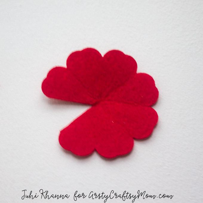 Red Poppy Flower Craft using felt & button-2a