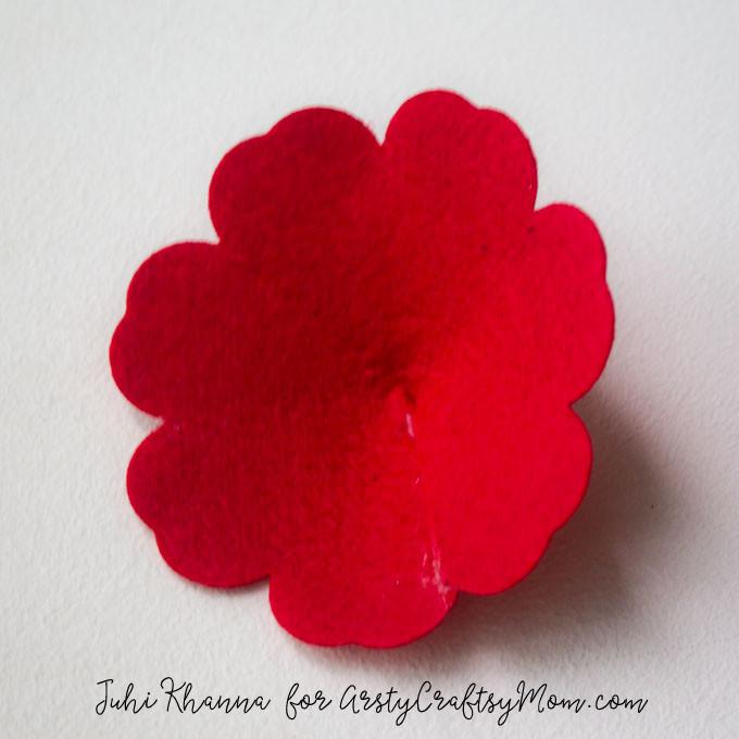 Red Poppy Flower Craft using felt & button-3a