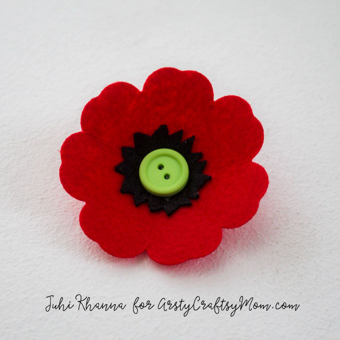 Spring flowers: Red Poppy Felt Craft  – A Remembrance, Armistice or Veteran's day activity. Easy step by step tutorial for kids to make.  Tags - how to make a red poppy flower, Remembrance Day Poppy Craft , Beautiful Red Poppy Crafts for Kids to Make, Memorial Day Red Poppy Craft, Anzac Day memorial poppy craft, Making red felt poppies, How To Make Felt Poppies
