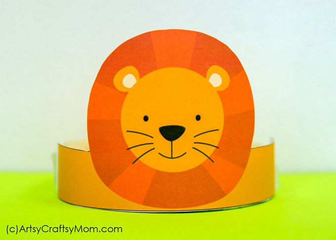12 adorable animal party printable hats for a jungle party lion paper crown template maxwellsz