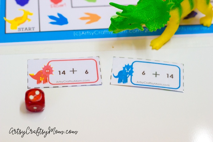 DIY Printable Dinosaur  Board game that helps practice common core  kindergarten Addition  problems