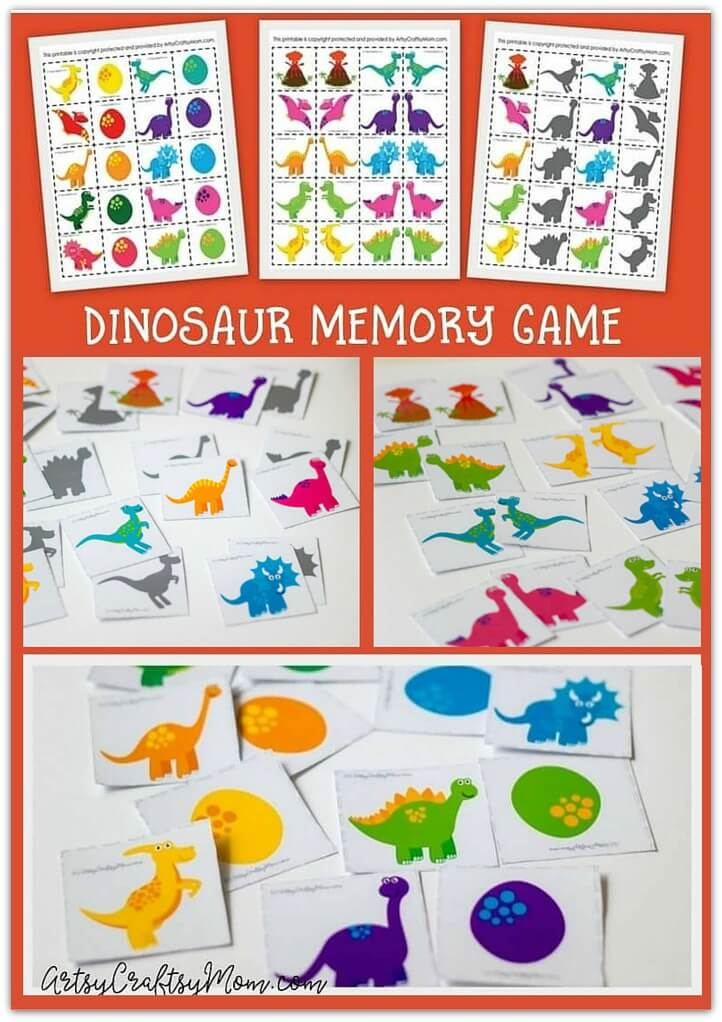 Our 3-in-1 Dinosaur Memory Printable Games are a fun way to develop your child's memory! Be the fastest to match dinosaur eggs, mirror images & shadows .