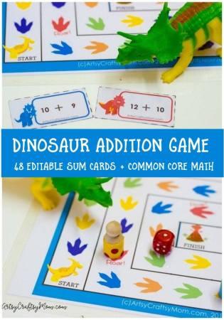 Printable Dinosaur Addition Game