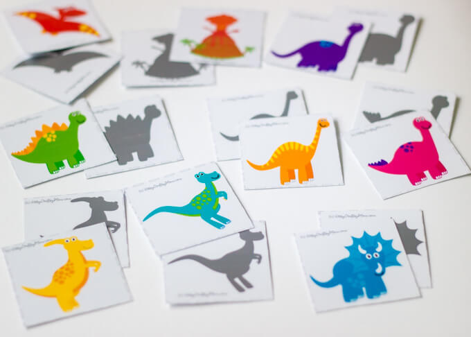 Dinosaur Shadow Matching Memory Printable Game is a fun way to develop your child's memory! Be the fastest to match dinosaur eggs, mirror images & shadows .