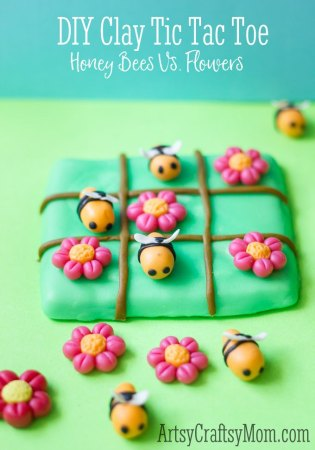 Super Easy Clay Craft for kids- Tic Tac Toe Bees Vs Flowers