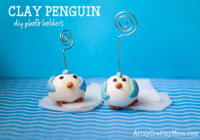 These Cute Clay Penguin Craft wire holders work great for your notes, business cards or photos. These are made with homemade cold porcelain clay that costs a fraction of what you would spend on polymer clay.