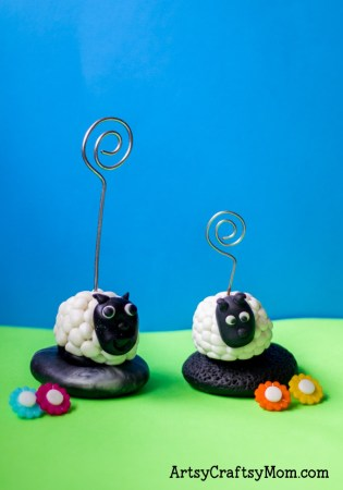 Super Easy Clay Sheep Photo Holder Craft for Kids