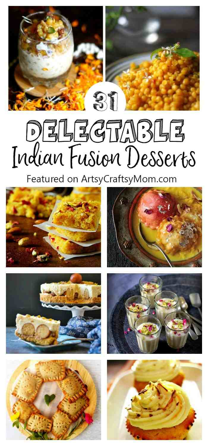 This festive season try modern, artisanal versions of Desi mithais with these 31 recipes of Delectable India Fusion desserts! - Turmeric Icecream, mango lassi cupcakes, avacado kalakand , Boondi Parfait, Jamun ice cream, Kiwi Sondesh, Gulab jamun cheesecakes and so much more!