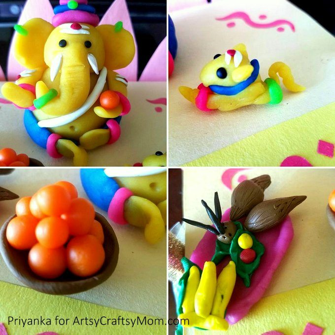 How to Make Clay Ganesha at Home - Ganesh Chaturthi Crafts and Activities to do with Kids - Make a Clay Ganesha, decorate, Ganesha's throne & umbrella, rangoli ideas, recipes, books and more