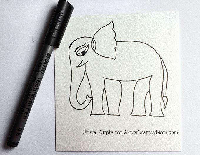 Madhubani elephant bookmark Step-2