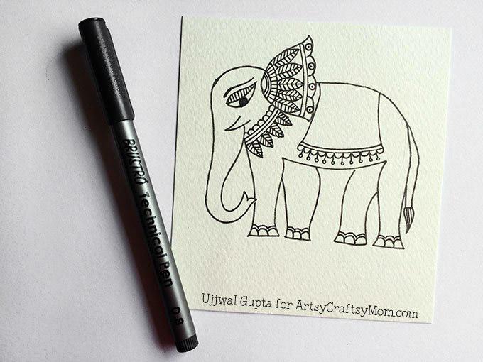Madhubani elephant bookmark Step-3