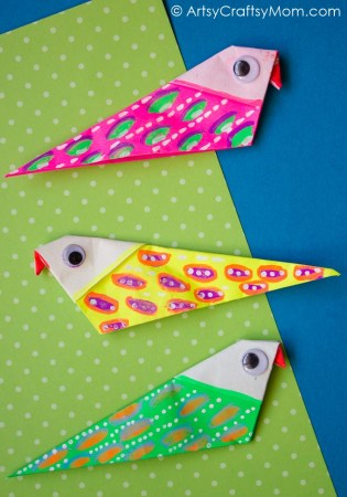 Easy and Colorful DIY Origami Bird Magnets