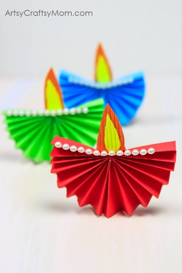 Accordion Fold Diwali Paper Diya Craft - Easy paper folding Diwali paper craft for kids that's both easy to make and functional.