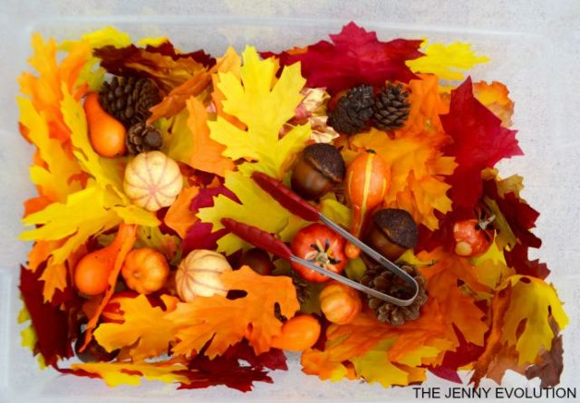 Fall is full of beautiful colors and smells all around! Make the most of this season with some fun fall sensory bin ideas for kids to touch, see and play!