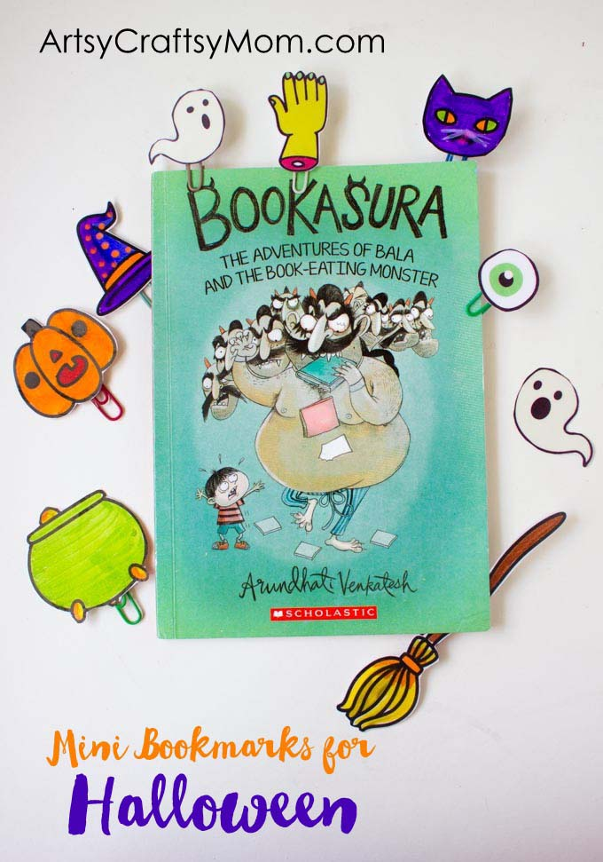 Prevent the sugar overload with these Super Quick Non Candy Halloween Mini Bookmark treats that are super fun for kids. #printable