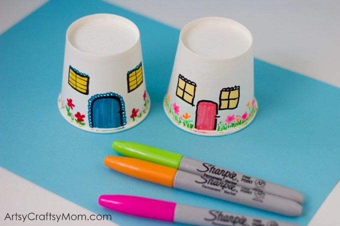 Paper Cup Miniature Village Craft Artsy Craftsy Mom