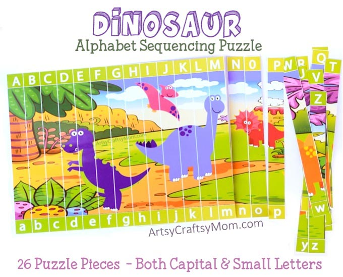 image about Alphabet Puzzle Printable called Printable Dinosaur Alphabet Sequencing Puzzle - Artsy