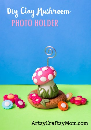 Let this DIY Clay Mushroom Photo Holder give your precious photo or quote a place of pride on your desk! Perfect as a gift for kids, teenagers and adults!