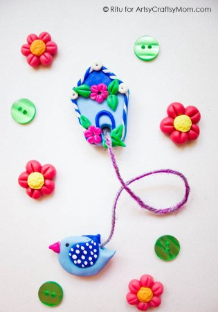 Handmade Clay Birdhouse Bookmark