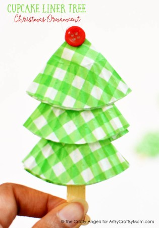 DIY Easy Cupcake Liner Tree Christmas Ornament