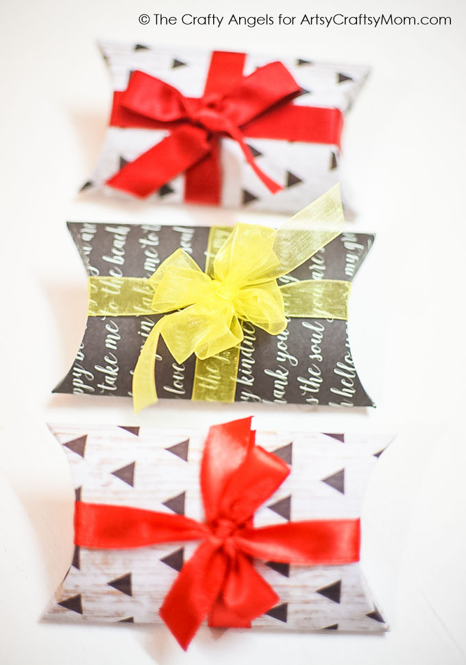 DIY Pillow Gift Box Tutorial with a free template- great choice for packing small things and to add a touch of personality to your gifts