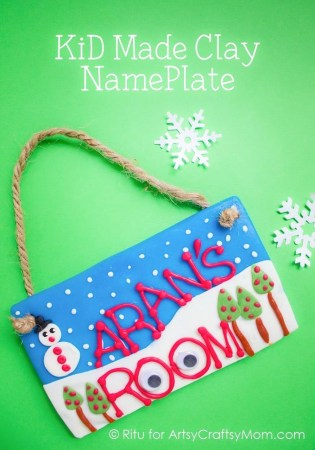 Winter themed Kid-Made Clay Nameplate