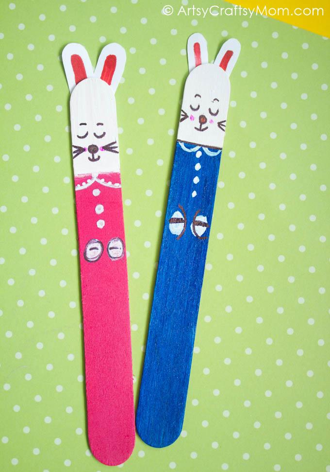 Craft Stick Easter Bunny Bookmarks Artsy Craftsy Mom
