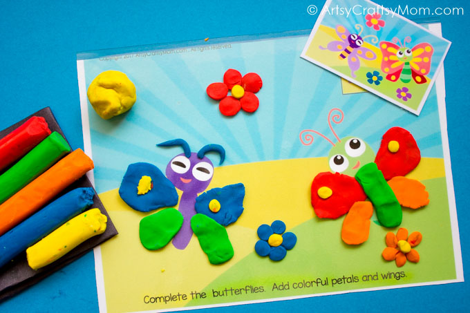 Toddlers and preschoolers will love these Spring Themed Play Dough Mats! Develop fine motor skills & improve concentration while having fun with play dough!
