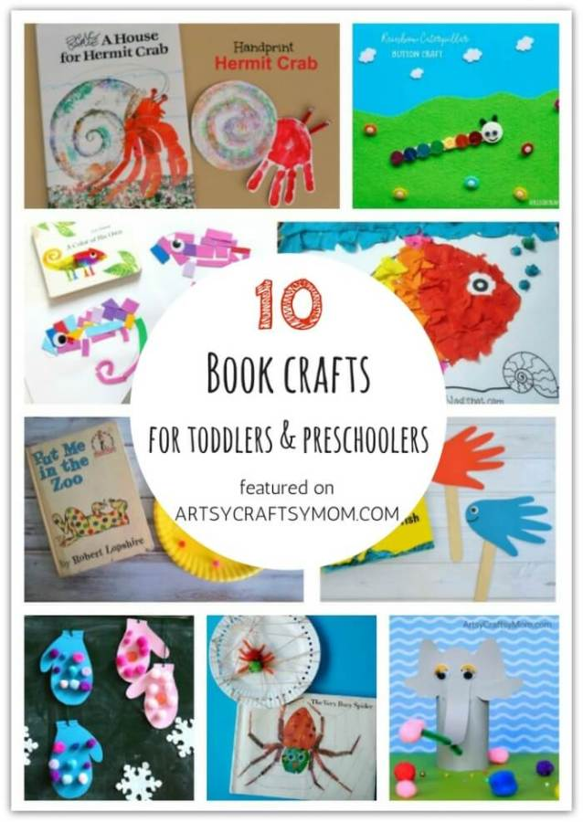 Don't let little kids feel left out when crafting! Here are 10 Book crafts and activities for toddlers and preschoolers, designed specifically for them!
