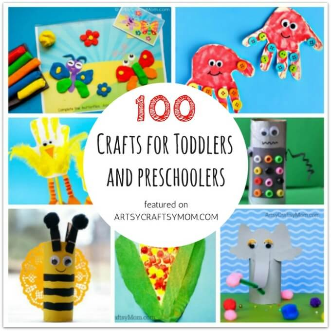 Don't let little kids feel left out when crafting! Here are 100 crafts and activities for toddlers and preschoolers, designed specifically for them!